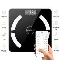 Escala de grasa corporal Bluetooth, suministros de inodoros Smart inalámbrico BMI BAÑO BAJO PEQUEÑO COMPOSICIÓN DE PEQUEÑO MONITOR DE MONITORÍA DE SALUD CON APLICACIÓN DE SMARTPHONE