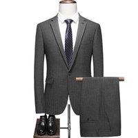 Men's Suits & Blazers (Jacket+Pants) 2021 High Quality Slim Fit One Button Gray Groom Tuxedos Groomsmen Mens Wedding 2 Piece Prom Bridegroom
