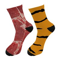 Men Fashions 3d Printed Tiger Skin Meat Crew Socks Men Funny Raw Beef Dollars Long Socks Street Trend American Flag Tube Socks