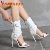 Sandals Voesnees Women Shoes Middle Tube 10CM Fashion Hollow Out Cross Strap High Zipper Stilettos Plus Size 43