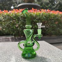 2021 Hookah Bong Glass Dab Rig Multi Color Green Recyler Water Bongs Smoke Pipes 9 Inch Height 14.4mm Female Joint with Quartz Banger