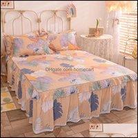 Sheets Bedding Supplies Textiles Home Gardensheets & Sets 100% Cotton Bed Linen Queen Skirt Flat Sheet King Fl Double Size Bedspread Lace So