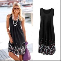 Summer Sleeveless Floral Print Loose Womens Dresses Six Colors Casual Robe Femme Ete Sexy Plus Size S 5XL Sundress