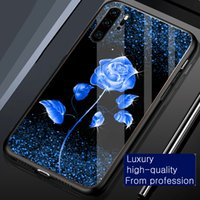 Cases Shimmering Flash powder Blue Rose Flower women Phone case cover for iphone 6 6s 7 8 Plus x xr xs 11 12 13 pro max tempered glass shockproof Protector back casing