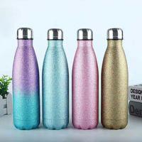 Garrafas de água de aço inoxidável 500ml parede dupla isolada forma de garrafa de cola para bebidas frios e quentes