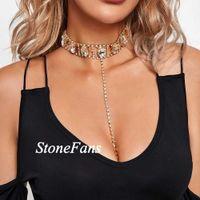 Designer Necklace Luxury Jewelry StoneFans Women Vintage Charm Choker Gold Jewellery Trendy Oval Large Crystal Rhinestone Drop Bra Chain