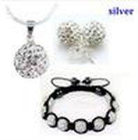 Рождественский подарок 10 мм CZ Crystal Clay Disco шаровое ожерелье браслет сережки ступенчатые украшения