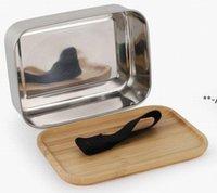 NEUE800ML Lebensmittelbehälter-Lunchbox mit Bambus-Deckel Edelstahl Bento-Box Holz Top 1-Schicht-Lebensmittel-Küchenbehälter EASY FÜR NACH RRE9508