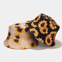 Ampla Brim Hats Giyu Girassol Impressão de Dupla Face Moda Verão Mulheres Bucket Beach Holiday Chic Caps Caps Girls Dobra Fisherman Bacia