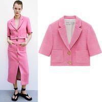 Office Lady Brand Formal Suit Куртка 2021 Чистый цвет Высокое Качество Классическая мода Стиль Розовый Blazer и Юбка Двухсексуалисты наборы ДВУ