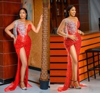 Arabic Aso Ebi Red Sequined Prom Dresses 2021 Silver Beading Tassels Sexy Side Slit Mermaid Evening Gowns Sheer Neck Women Special Occasion Dress Formal Wear AL9071