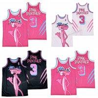 Rosa Panther # 3 Miami Basketball Jersey Männer Größe S-XXXL Weiß Schwarz Top Qualität Trikots