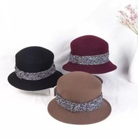 Stingy Brim Hats Women's Autumn And Winter Solid Color Classic Retro Hepburn Small Fragrant Wind Bucket Wool Felt Top Hat Fashion All-match