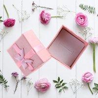 Bolsas de joyería, bolsas 24 unids 4 * 4 * 3 cm Bowknot Style Pendientes Pulsera Pulsera Collar Joyería Cajas de almacenamiento Cajas de regalo Organizadores)