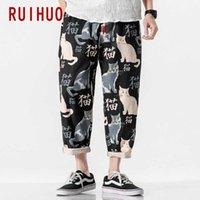 Ruihuo gato impresión harem pantalones hombres pantalones joggers casual pantalones hombres tobillo longitud pantalones hip hop streetwear m-5xl cx200729