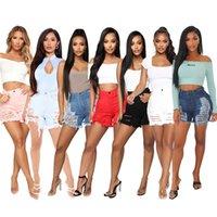 Kadın Tasarımcılar Giysileri 2021 Seksi Kot Kesim Düğmesi Denim Moda Baskı Şort Kadın Delik Sıkıntılı Sıska Yaz Artı Boyutu S-5XL