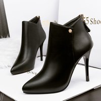 fashion women chunky heel Boots black leather ankle booties sexy point toe gladiator botas knight boot After the zipper High heels