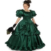 Vintage Gothic Medieval A Line Wedding Gowns 2022 Hunter Greeen puffy Short Sleeve lace-up Plus Size Church Victoria Bridal Party Dresses