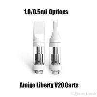 本物のwithuwa Amigo Liberty V20アトミザー0.5ml 1.0mlセラミックコイルカートリッジ漏洩510スレッド蒸発器の蒸気タンク空のカート100%純正