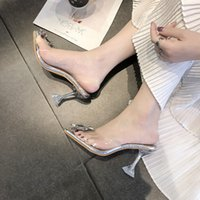 Luxury Women Pumps 2019 Transparent High Heels Sexy Pointed Toe Slip-on Wedding Party Brand Fashion Shoes For Lady Size