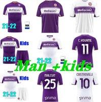 Top Thailand 2021 2022 피렌체 축구 유니폼 21 22 Fiorentina Benassi Biraghi Chiesa Simeone Ribery Man Kids Kit Football Shirts