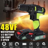 Professiona Electric Drills 2 In 1 Drill 48VF Cordless Impact Screwdriver 25+1 Torque Power Tools With 1 2 Li-ion Battery 2-Speed