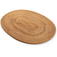 Mats & Pads Oval Rattan Placemat,Natural Hand-Woven,Tea Ceremony Accessories,Suitable For Dining Room, Kitchen,Living Room