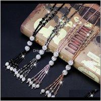 Мода блестящие хрустальные бусы длинные ожерелье простой джокер кисточкой пряди Свитер цепь женские досуг ювелирные изделия 4 цвета D061X кулон ожелля 3adek