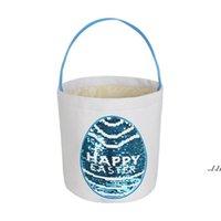 Joyeux panier de Pâques paillettes paniers de lapin de paillettes Toile Cadeau de cuisson de Pâques Porter des œufs sac de bonbons peluche ronde bas rangement sacs à main DWE7351