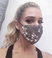 ABD Stok 50 Adet Moda Renkli Örgü Maskeleri Bling Elmas Parti Maskesi Rhinestone Izgara Net Maske Yıkanabilir Seksi Hollow Maske Kadınlar Için