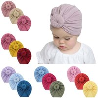 Toddler Kids Baby Girls Solid Turban Knotted Hat Cotton Beanie Winter Cap Headwear Hair Accessories Hooded Hats Caps &