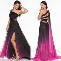Crystal Crystal Crystals выпускные платья Одно плечо плиссирует шифон разведка поезда сплит боковые вечерние платья бусины формальное платье