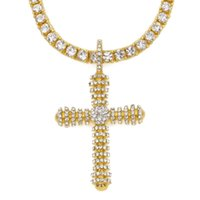 Pendant Necklaces Iced Out Gold Tone Cross Christ Jesus Necklace Link Rolo Chain Heavy Jewelry Gift For Men Women
