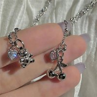 Pendant Necklaces 2021INS Metal Bear Cherry Necklace Love Zircon Choker Women Girls Sweet All-match Party Jewelry