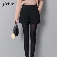Jielur Autunno Moda coreana Black Shorts per le donne Inverno Inverno Classico Casual Casual Gamba Breve Femme Zipper Zipper Pantaloncini di lana 210324