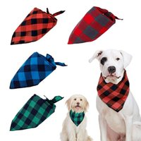 Cat Collars & Leads Adjustable Plaid Dog Bandana Pet Neck Scarf Cleaning Triangle Bandage Towel Grooming Accessories