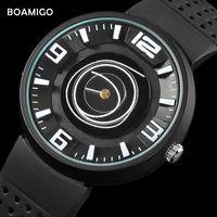 Наручные часы Смотреть мужские Унисекс Часы Boamigo Бренд Мода Творческий Простой Дизайн Кварцевые Резиновые Часы Аналог L819