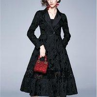 Women Autumn Long Elegant Blazer Trench Coat Female Spring Lace Vintage Designer Oversize Outerwear & Coats