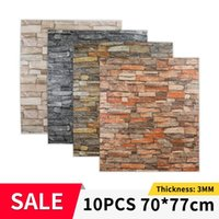 Wallpapers 10pcs Brick Wall Sticker Waterproof Anti-Collision Foam Wallpaper Self-Adhesive For Living Room Bedroom TV Background 70*77cm