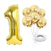 Pulgadas de lámina digital cumpleaños globos aire helio número globo figuras feliz fiesta decoración niño juguete lentejuelas Ballon