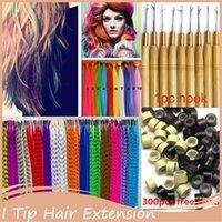 Großhandel - 16'40cm Frauen Lange Gerade Grizzly Micro Loop Ring Feder Haarverlängerungen Haarteil Multicolor Mischfarben I Tipp Haar1