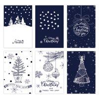 6 pcs Christmas Greeting Card Creative Retro Gift Thank You