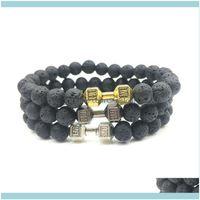 Beaded, Strands Jewelrynatural Volcanic Lava Stone Dumbbell Bracelet Black Matte Beads Bracelets For Women Men Fitness Barbell Jewelry Pulse