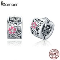Bamoer Genuine 925 Sterling Silver Flower Exquisite Stud Pendientes para las mujeres Clear CZ Sterling Silver Jewelry SCE541 210323