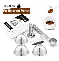 RECAFIMIL REUSBLE Kaffee Capsaule für Nespresso Vertuo Espresso Kaffeefilter Rich Crema 230ml Pod für Delonghi-Maschine 210326