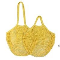 Bolsa de compras de algodão Dobrável REUSABLE Shopping Saco de compras para vegetais e frutas algodão Malha de Malha Net Hwe7386
