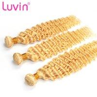 Human Hair Bulks Luvin Brazilian Deep Wave Bundles 613 Blonde Remy 1 3 4 Pcs 8 - 30 Inch Weft Extensions