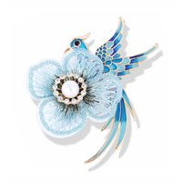 Chinese Style Hand Embroidered Phoenix Bird Flower Brooch Women Luxury Jewelry Vintage Pin Scarf Dress Accessories