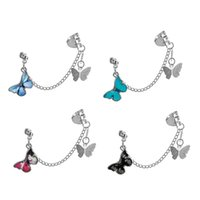 Hanging Clip Earrings Butterfly Chain Ear Hook Rock Hoop Double Pierced Unusual Earring Women Girls Goth Jewelry Punk Wholesale