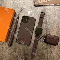 3-Piece Set Moda Telefon Kılıfları Için iPhone 13 12 Pro Max Mini 11 11Pro X XS XR XSMAX PU Deri Airpods Kapak Tasarımcısı Watchband Suit